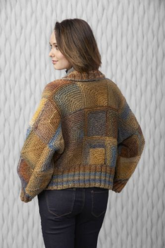 Katia Azteca womans jacket knitted with mitred blocks